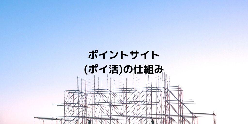 ビルを建てている最中で基礎となる鉄パイプが組まれている。