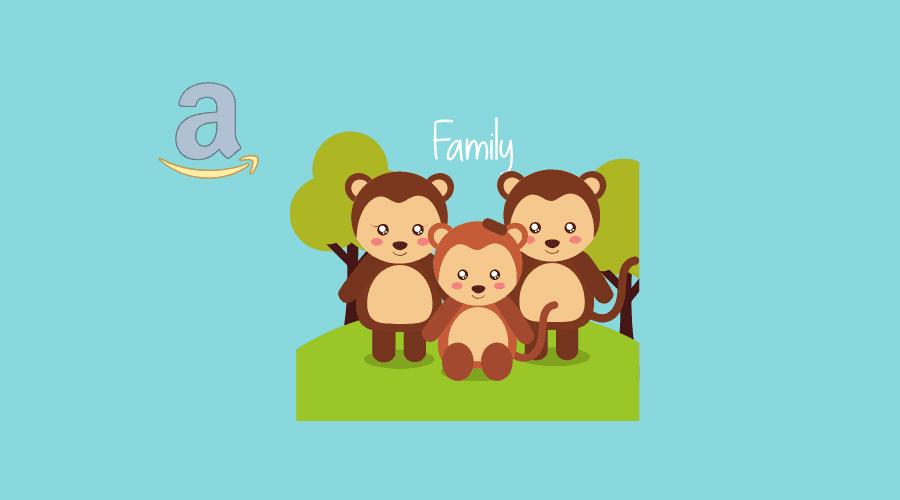 amazonの文字と熊の家族