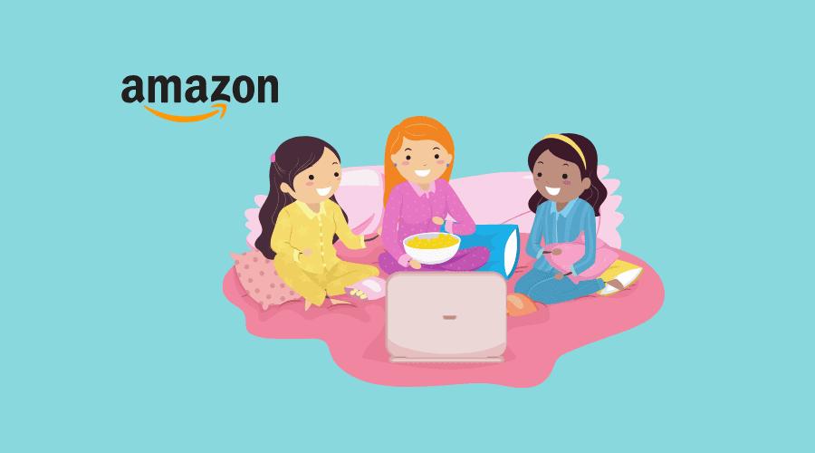 女の子3人がamazonプライムビデオを見ている