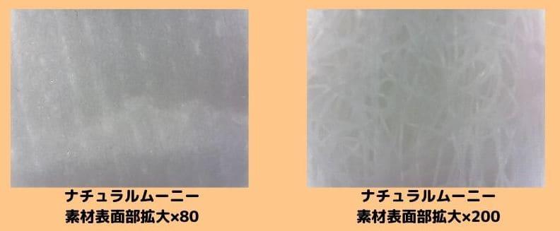ナチュラルムーニーの素材表面部拡大80、200倍