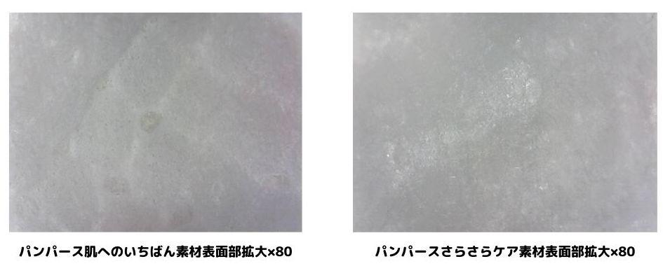 パンパース2種類の素材表面を80倍に拡大している