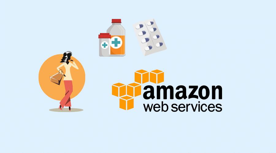amazonの文字と買い物をする女性