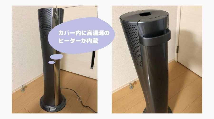ヒーターの高温部がカバー内にあり、触れることができない構造となっている