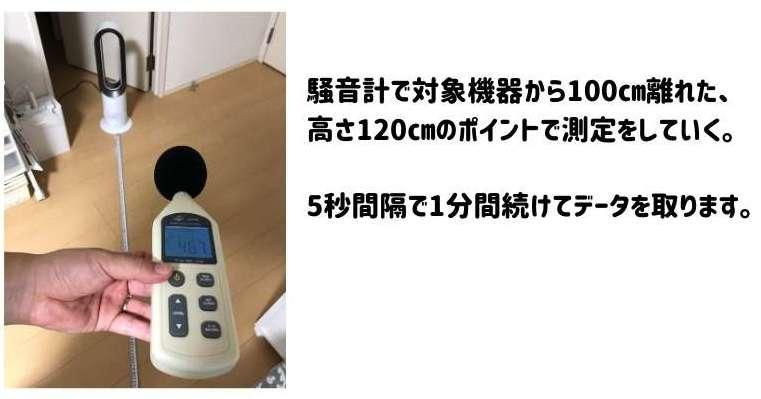 ダイソンAM09と普通の扇風機を騒音計で測定している