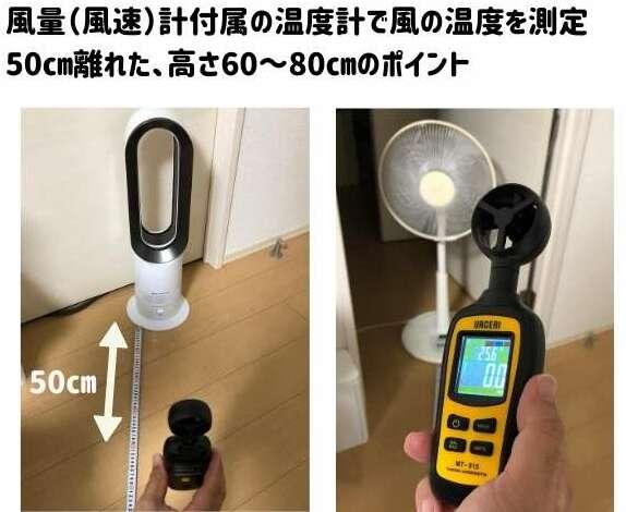 普通の扇風機とダイソンAM09の涼風の温度を測定している
