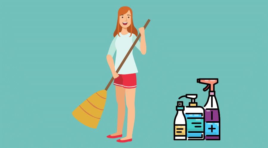 掃除をしている女性がいる