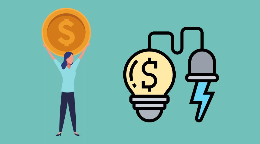 電球にコンセントが繋がっていて電力を消費している。その横にお金を持った女性が立っている。