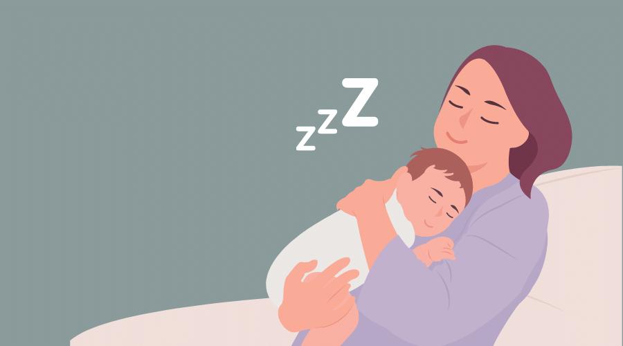 赤ちゃんとお母さんが寝ている