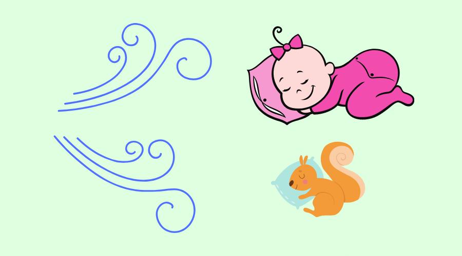 赤ちゃんと子リスが風に当たって寝ている