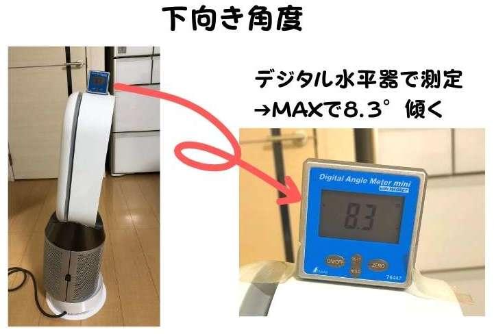 扇風機を下に向けた角度を水平器を使用して測定している。