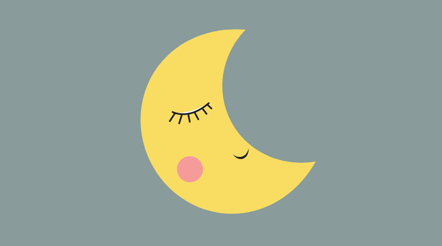 月が寝ている