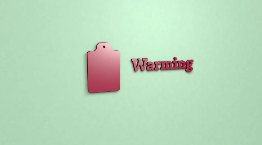 warmingの単語が書かれている