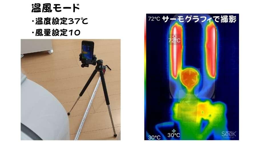 風量10、温度設定37℃の温風モードをサーモグラフィで撮影されている。