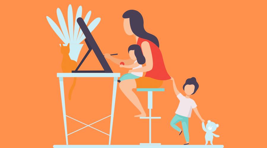 子供の相手をしながらパソコンをしている女性がいる