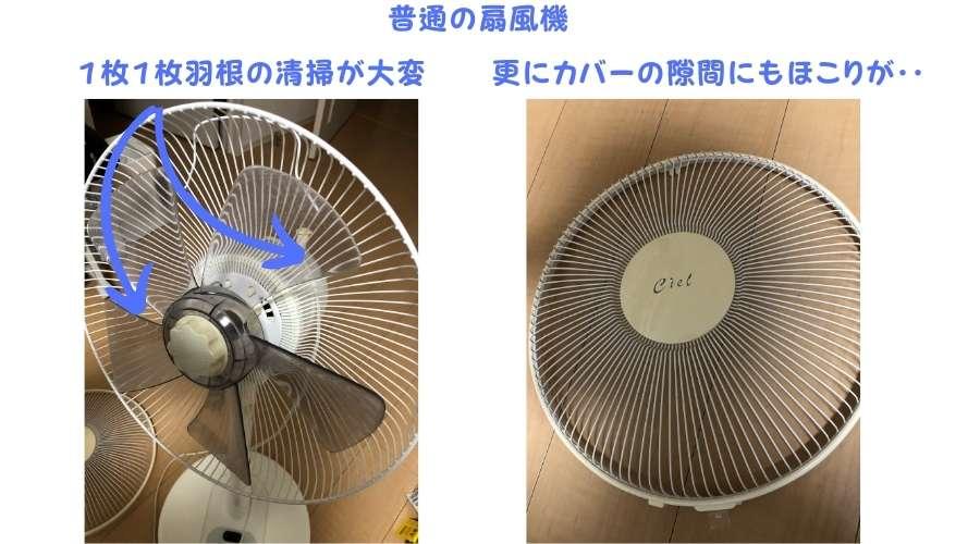 従来の普通の扇風機を分解して清掃している