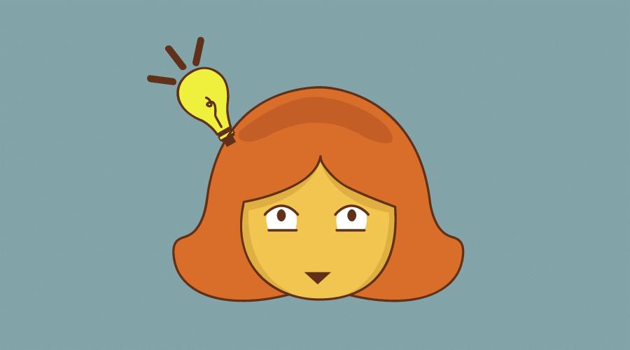 女性の頭に載っている電球が光っている