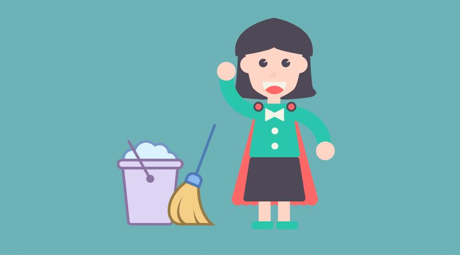 掃除用具と子育てママがいる