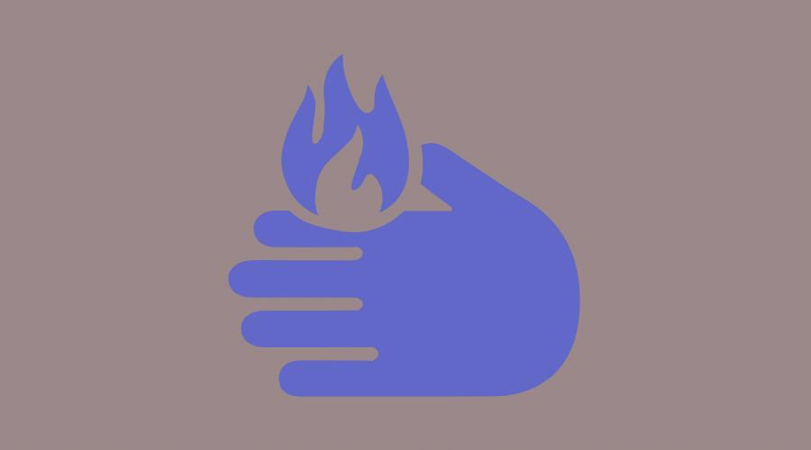 手に火がついている