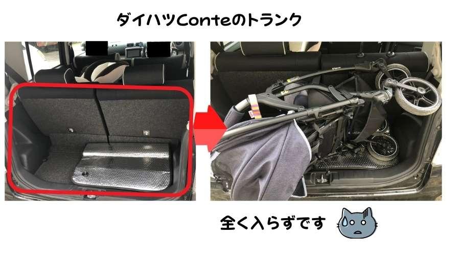 ピジョンのベビーカーを、軽自動車のトランクに入れようとしているが入らない