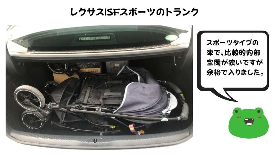 セダンタイプの普通車のトランクにベビーカーを入れている