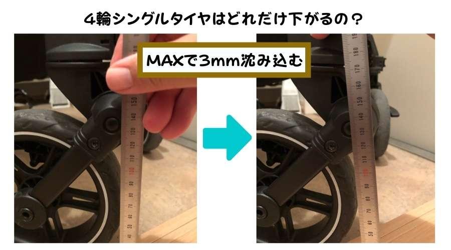 4輪シングルタイヤで、どれぐらいサスペンションが沈み込むのか?テストをしている。