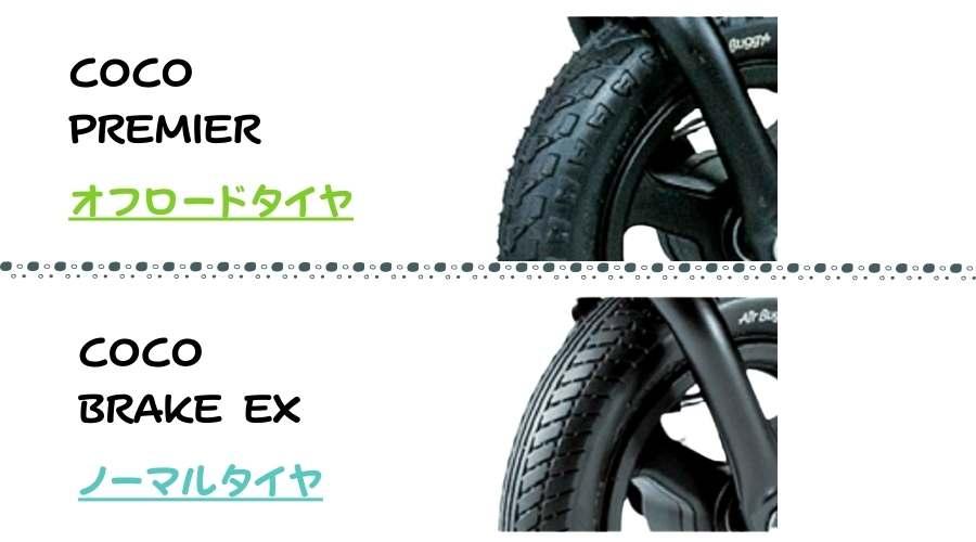 COCO PREMIERとCOCO BRAKE EXのタイヤの違いを説明している。