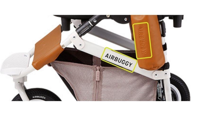 エアバギーのフレームと、ドリンクホルダーに『Air Buggy』と刻印が入っている