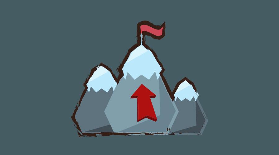 急な山の頂上に矢印がさされている。