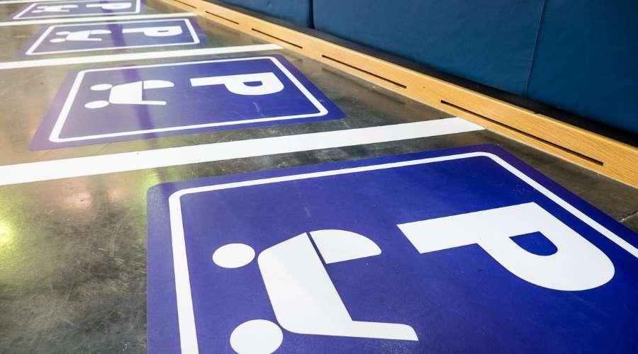 ベビーカー専用の止めるスペースが表示されている
