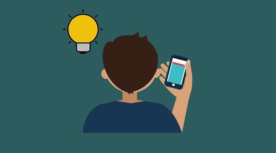 スマホで情報を調べている人と電球が書かれている。