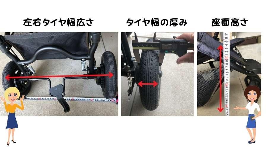 左右タイヤ幅と、タイヤの厚みと、座面の高さがどこか?図解している。