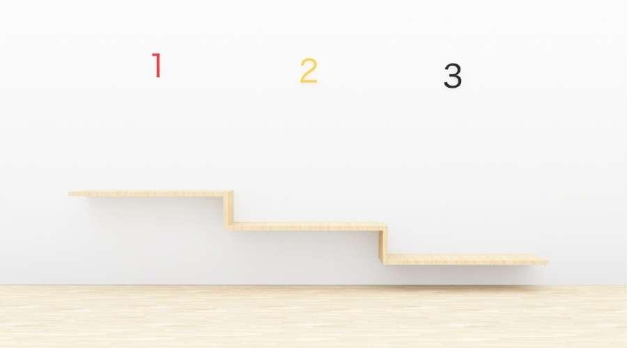 階段に順位が表示されている
