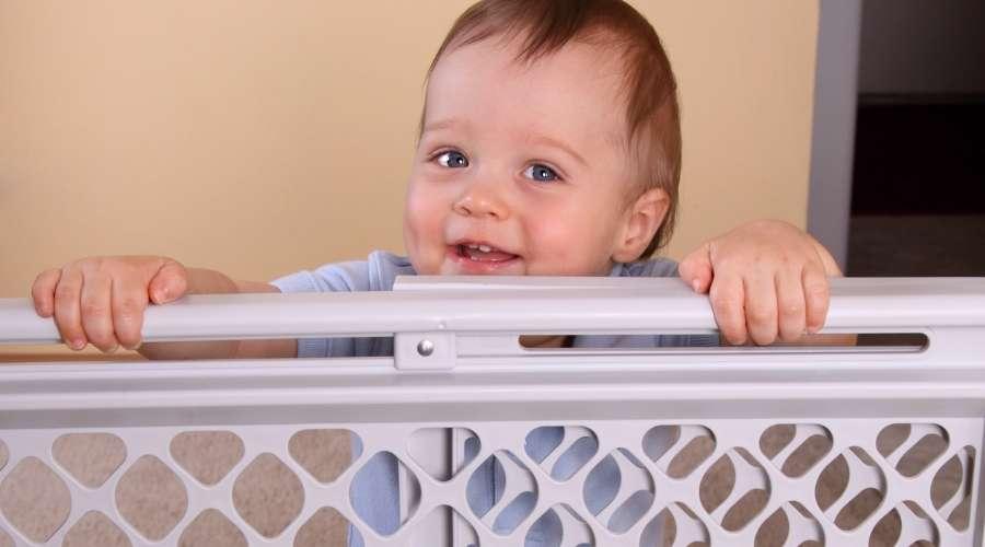 赤ちゃんが柵から顔を出している