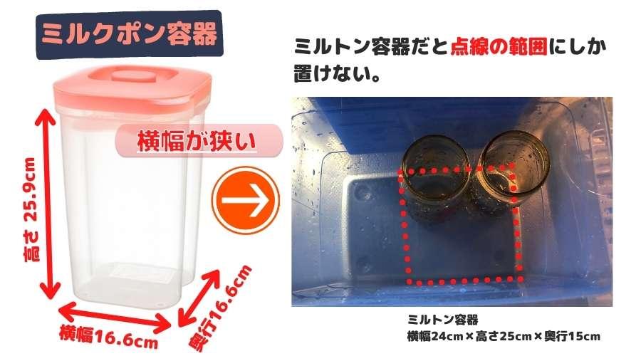 ミルクポン容器とミルトン容器のサイズを比較している