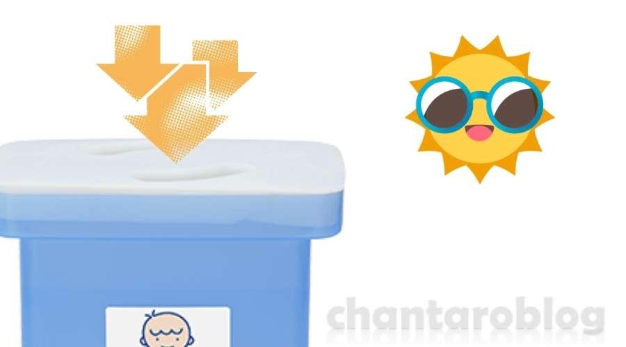 容器蓋に太陽光が当たっている。