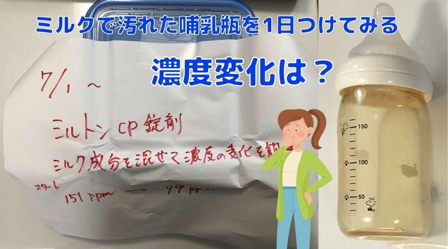 ミルトン錠剤タイプの除菌液に、ミルク成分を入れることでどれだけ濃度が低下するか実験している。