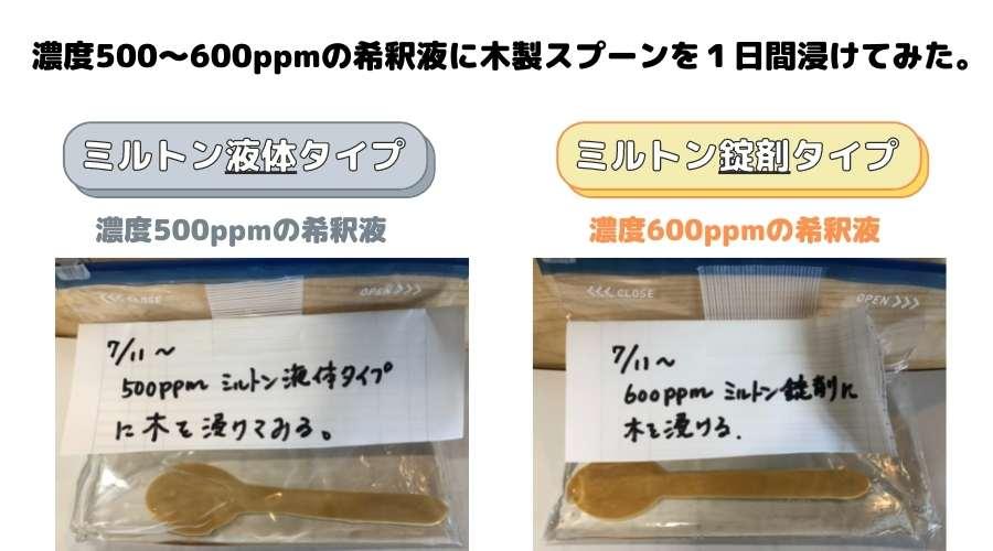 ミルトン液体、錠剤タイプの希釈液に木製のスプーンを浸けて実験をしている。