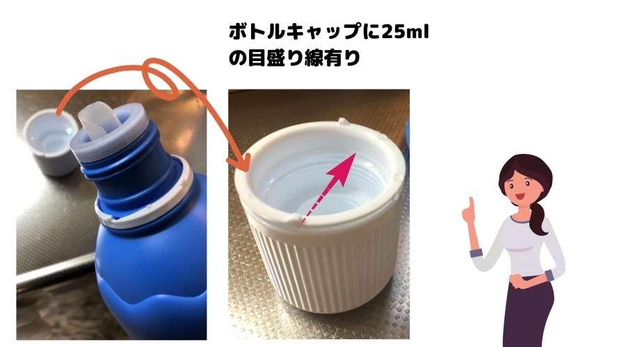 ボトルキャップで原液を量っている。