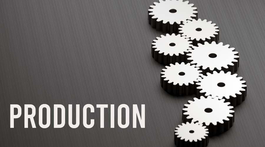 生産という文字と、沢山の歯車が組み合わさって動いている。