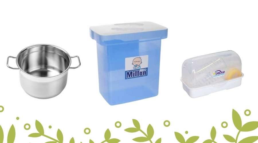 哺乳瓶の消毒用グッズで、鍋とミルトン容器とレンジ容器が置いてある。
